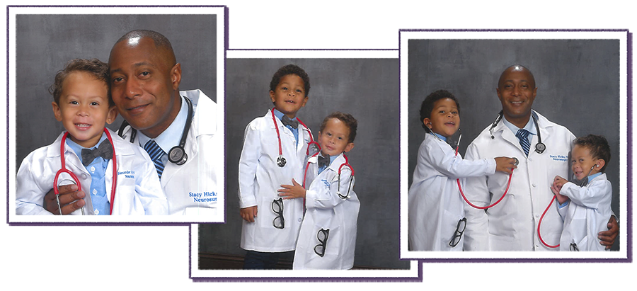 Photo collage of locum tenens part-time PA and children dressed as doctors
