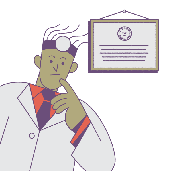Illustration of doctor and medical license