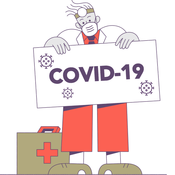 Illustration of physician and COVID-19