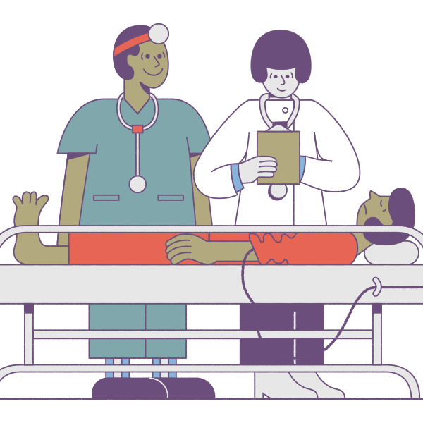 Illustration showing physician preparing for locum tenens out of residency